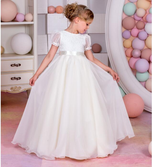 Girls Wedding Formal Dresses 2018 Autumn Chiffon Birthday Ball Gown Flowers Girls Princess Dress Kids Prom Party Dresses White uoipae party dress girls 2018 autumn