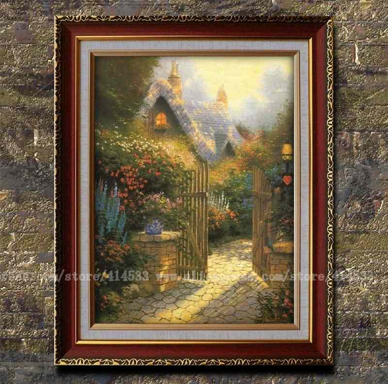 Thomas kinkade prints of oil painting hidden cottage - Home interiors thomas kinkade prints ...