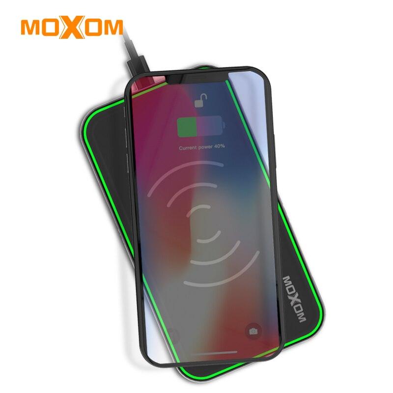 MOXOM Беспроводной Зарядное устройство QC 3,0 Fast Зарядное устройство 10 Вт Вход мобильного телефона Зарядное устройство USB Зарядное устройство с...