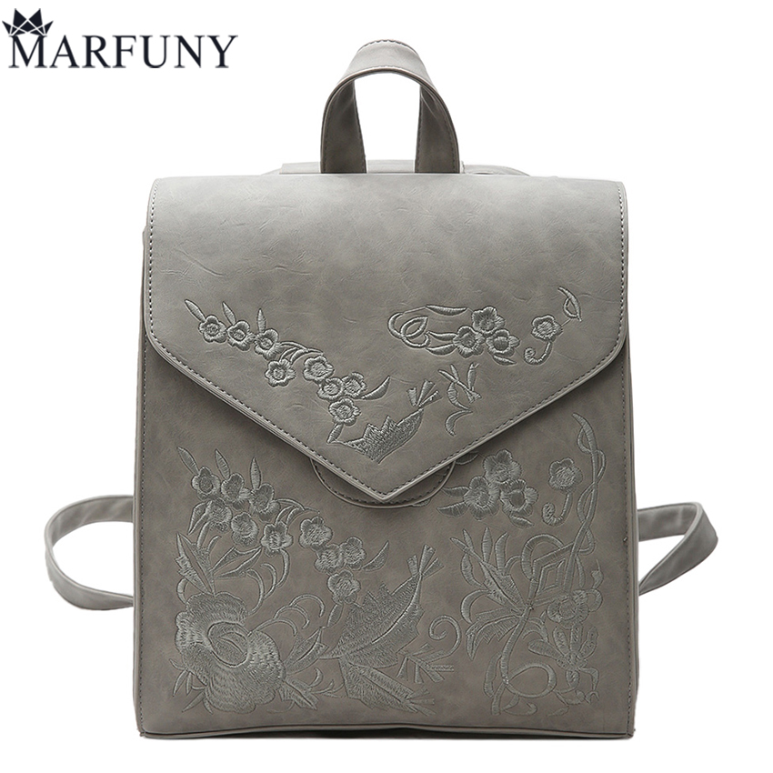 Fashion Embroidery Backpack Hot Sale Flower Backpack Women Bag Vintage Backpacks For Teenage Girls School Bags Flap Bags Mochila tegaote new design women backpack bags fashion mini bag with monkey chain nylon school bag for teenage girls women shoulder bags