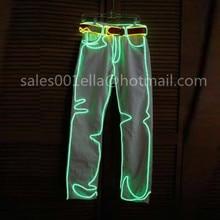2015 Free Shipping Led Dance Wear Men Luminous Clothing EL Wire LED Light Pants Dance Costume Suit