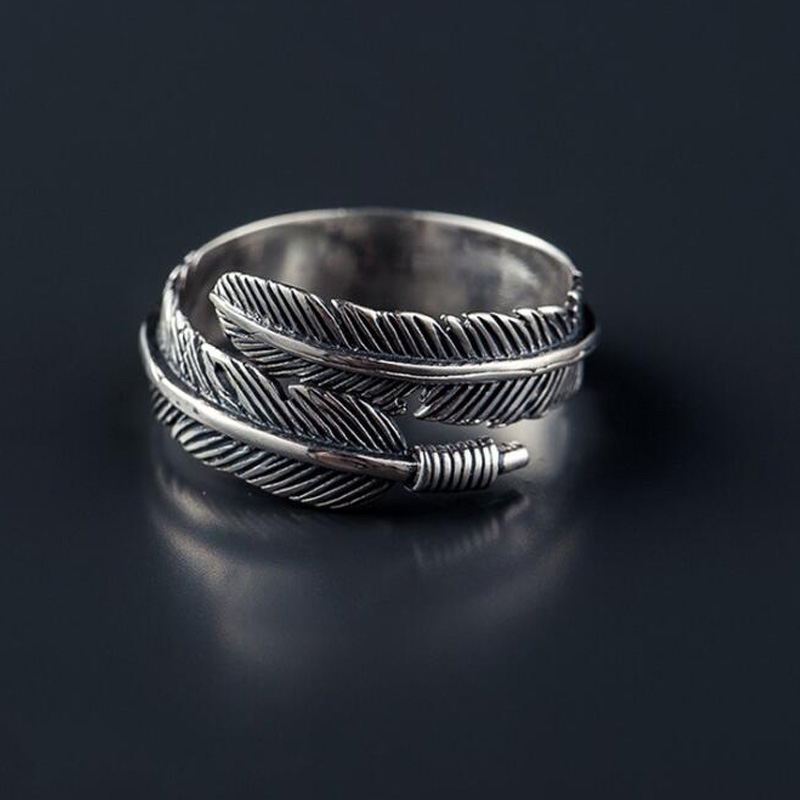 SMJEL New Fashion Punk Thai Silver Leaf Ring Vintage Feather Rings - Mote smykker