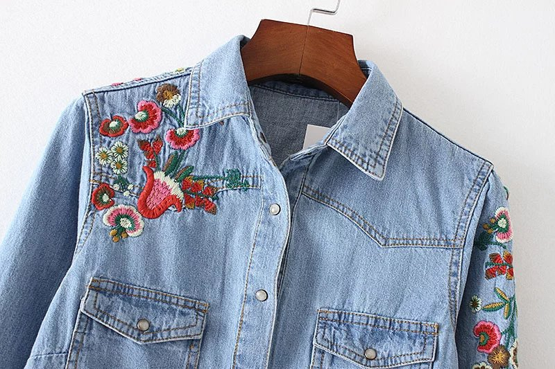 d040fe010cd Floral embroidery Women sweet denim shirts pockets long sleeve turn down  collar blouse female casual brand tops blusa-in Blouses   Shirts from  Women s ...