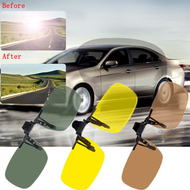 cd6983b9a59 Polarized Clip On Sunglasses Driving Night Vision Lens Sun Glasses Male  Anti-UVA UVB For