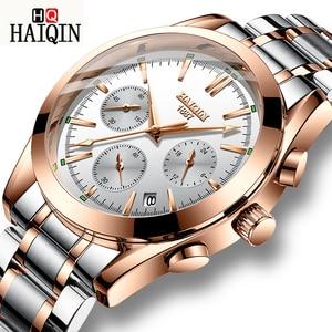 Мужские деловые часы HAIQIN, спортивные водонепроницаемые кварцевые часы из нержавеющей стали с датой 24 часа
