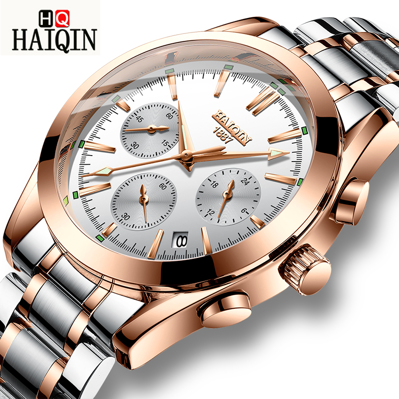 HAIQIN New Mens Business Watch Top Brand Luxury Waterproof 24 hour Date Quartz Watches Man Stainless Steel Sport Wrist Watch MenHAIQIN New Mens Business Watch Top Brand Luxury Waterproof 24 hour Date Quartz Watches Man Stainless Steel Sport Wrist Watch Men