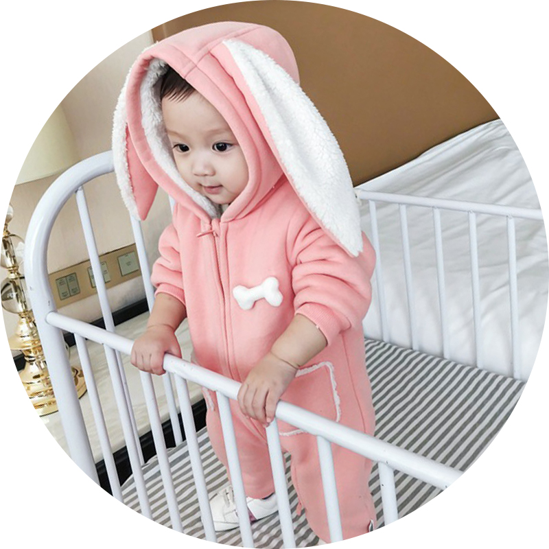 Long ear bunny baby girl romper winter fleece kids outwear pink baby jumpsuit hooded Warm Costumes Infant Girl Clothes Snowsuit puseky 2017 infant romper baby boys girls jumpsuit newborn bebe clothing hooded toddler baby clothes cute panda romper costumes