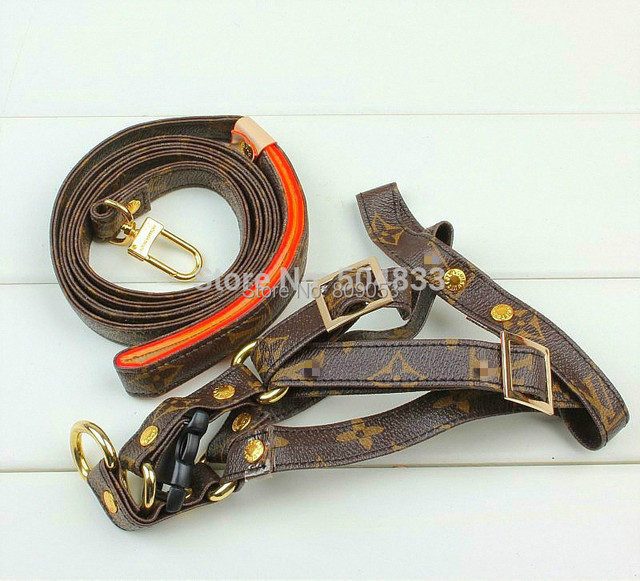 New arrival!Designer Dog Pets Harness+Leash Set Classic Classic Print Puppy Doggie Leather Chest Strap with Lead Coffee