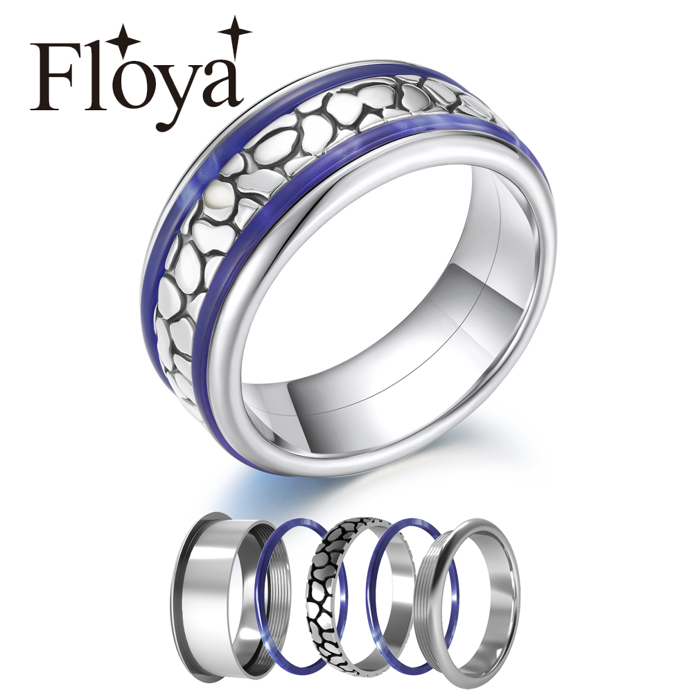 Floya Leopard Band Ring Replacement Various Styles Stainless Steel Combination Wedding Rings Interchangeable Filled Ring Bague in Rings from Jewelry Accessories