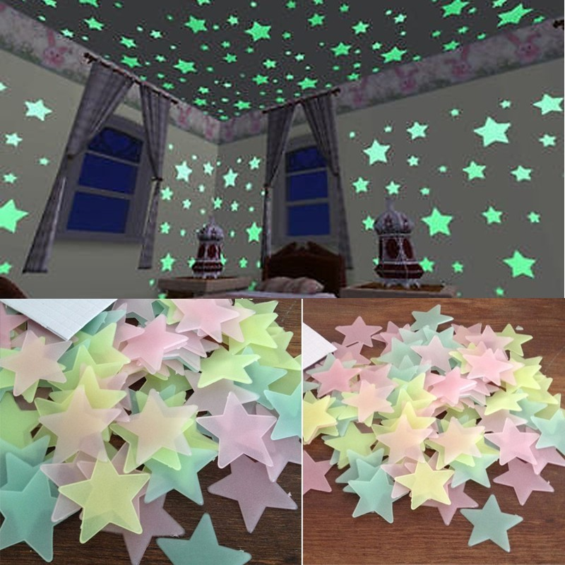 100pcs Wall Decals Glow In The Dark Nursery Room Color Stars Luminous Fluorescent Wall S ...