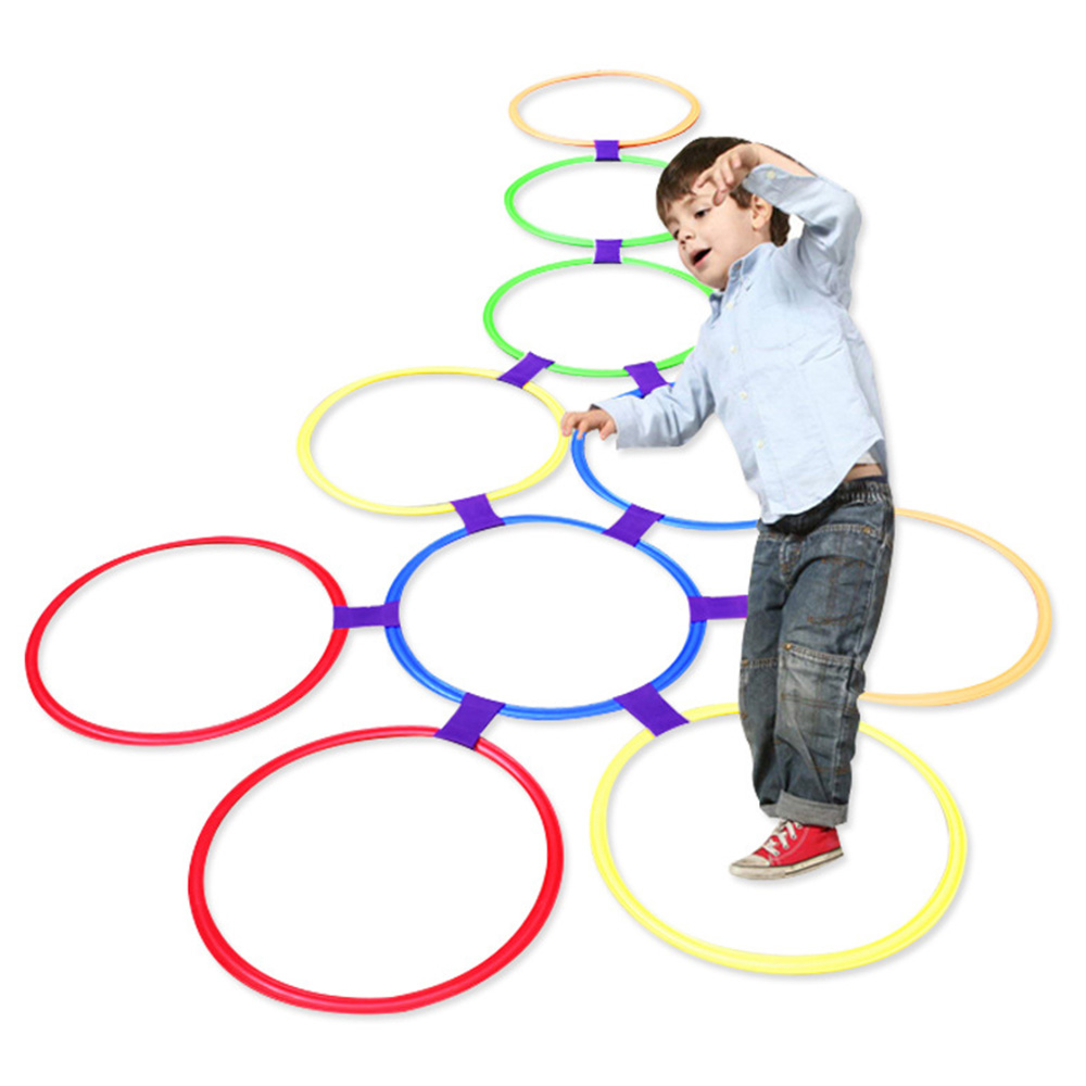 Lattice Jump Hopscotch Ring Set Game With 10 Hoops 10 Connectors For Outdoor Park Play Boys Girls Outdoor Kids Toys