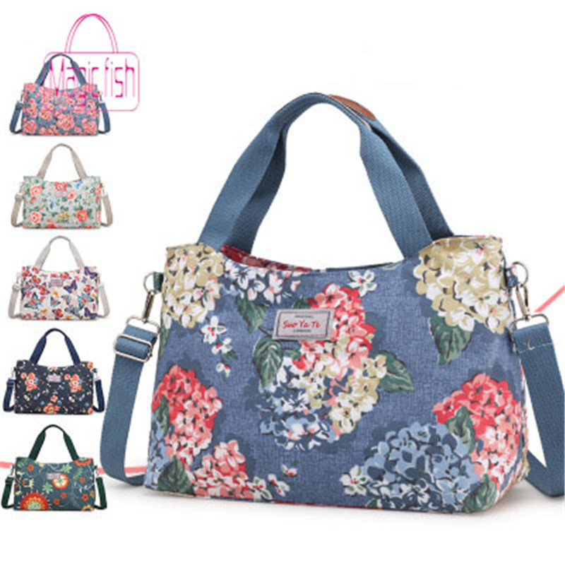 Magic Fish 2019 Hot Sale Women Travel Bag Colorful Flowers Large Capacity Women Hand Luggage Handbag Canvas Bag Mummy Handbag