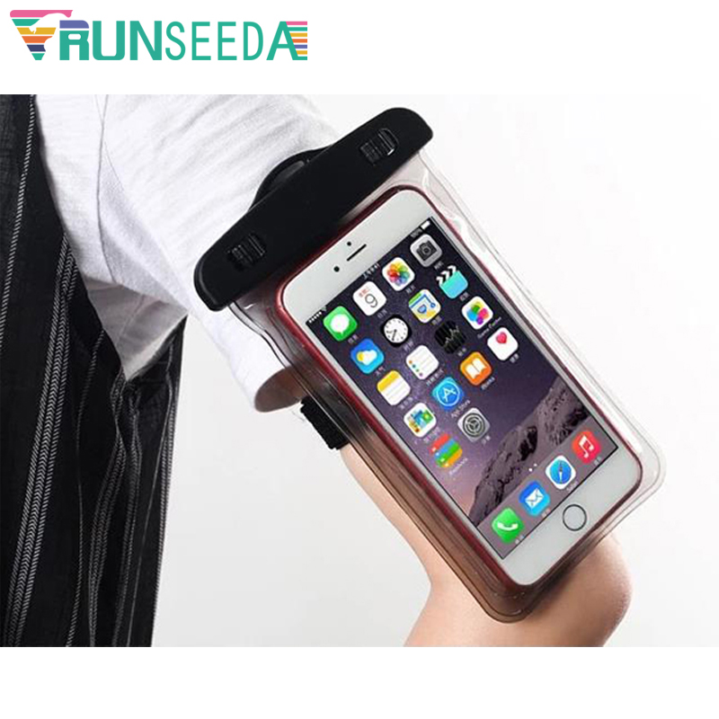 Runseeda Swimming Arm Bag Waterproof Mobile Phone Armbands Bag Touch Screen Cellphones Pouch For Surfing Diving On Beach Sea Use pochette étanche pour téléphone