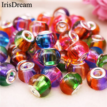 10Pcs/Lot Mixed Color Big Hole Round Fluorescence Crystal Murano Glass Beads Charm Fit DIY Pandora Bracelet For Jewelry Making