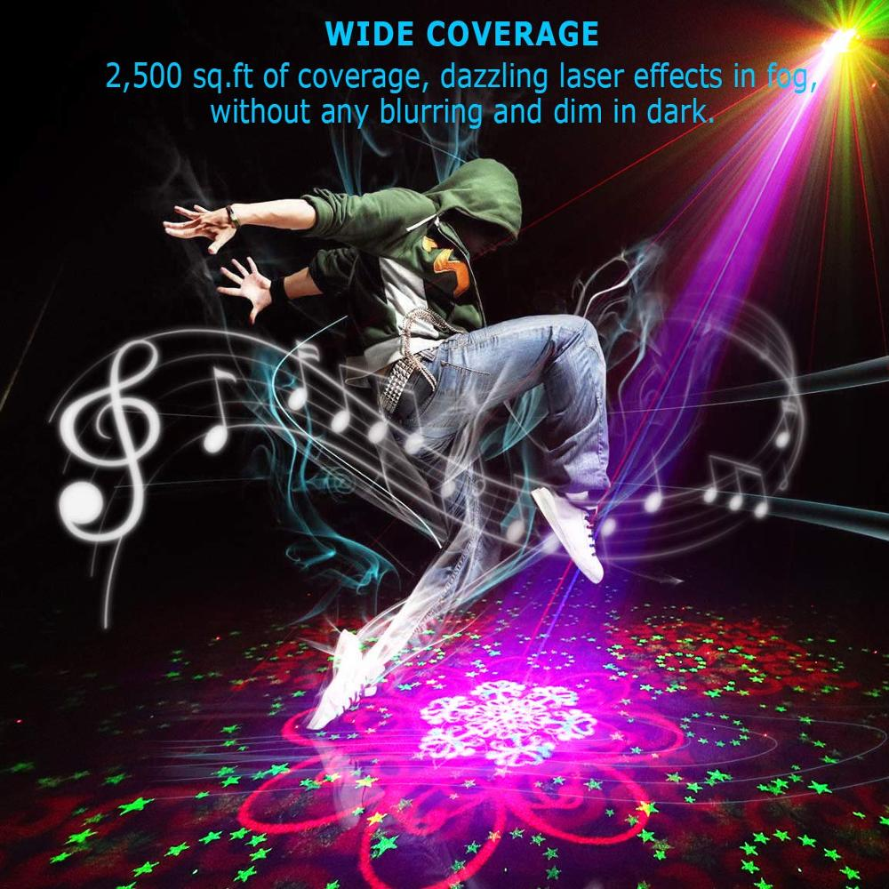 DJ Laser stage light Full Color 128RGRB Patterns Projector 3W Blue LED Stage Effect Lighting for Disco light Xmas Party Holiday