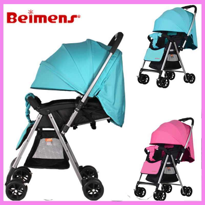 High Landscape Portable Umbrella Car Shock Absorber Baby Stroller Can Lie Removable Baby Carriage Reversable Handle Light Pram