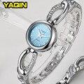 2017 Marca YaQin Moda CZ Strass Relógio Feminino Pulseira De Relógio de Luxo Senhoras Relógios De Quartzo-Relógio Simples Relogios Femininos