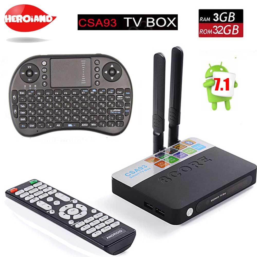 CSA93 Android7.1 TV Box 3G 32G Amlogic S912 Octa Core Smart Mini PC 2.4G/5.8G Wifi Bluetooth 4 K médias payeur Set Top Box + clavier
