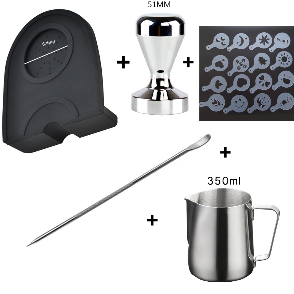 Silicone Coffee Tamper Mat Stainless Steel Handle Ear Cup Milk Jug Pull Flower Cafe Foam Spray Template Stainless Coffee Tamper