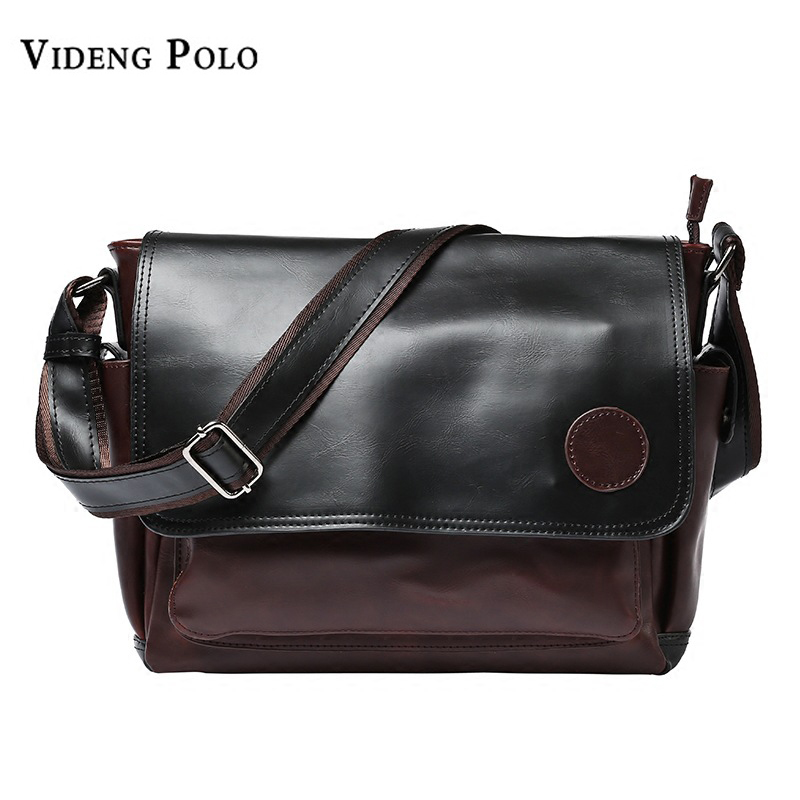 VIDENG POLO Men Bag 2017 New Brand Crazy Horse PU Leather Crossbody Shoulder Bag Vintage Business Messenger Bags Male Flap Bolsa