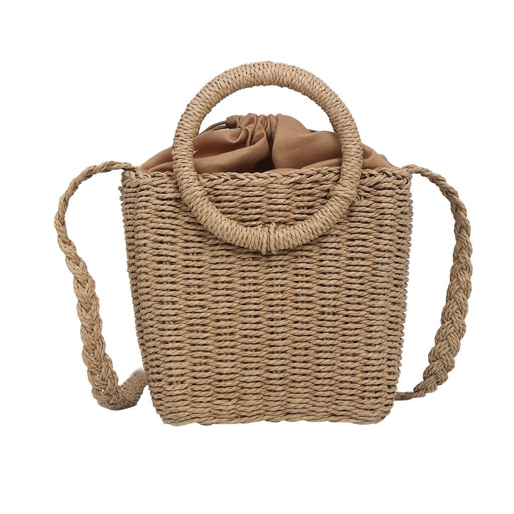 OCARDIAN Beach Handbags Rattan-Bag Crossbody-Bags Messenger Woven Round Small Hollow