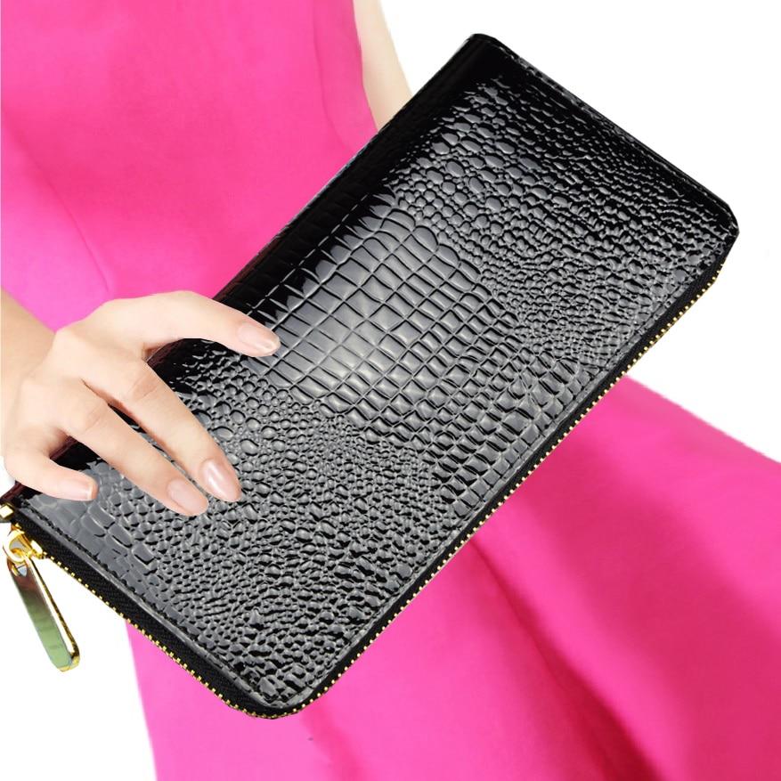 купить AOEO Alligator Crocodile Leather Women Wallets Luxury Slim Card Holder Money Bag Phone Cash Dollar Wristlet Womens Purse Female недорого