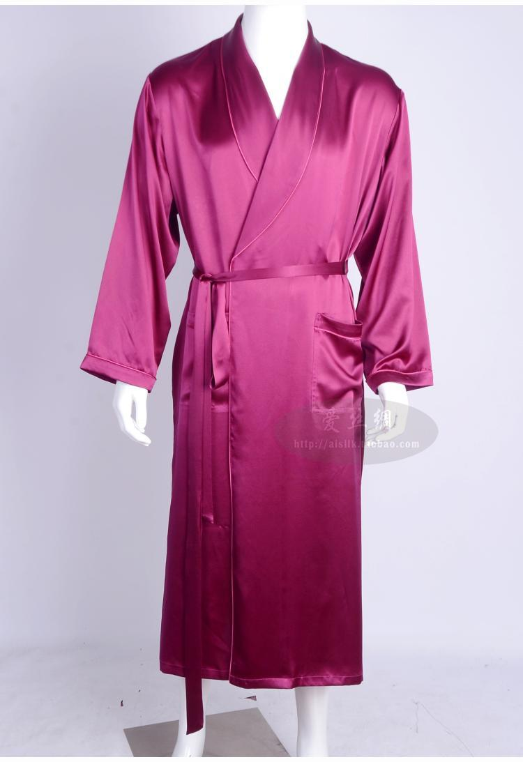 Men Love Silk Heavy Silk Pajamas Long Sleeved Robe Long Silk Bathrobe Silk Clothing (Home Furnishing Large Code