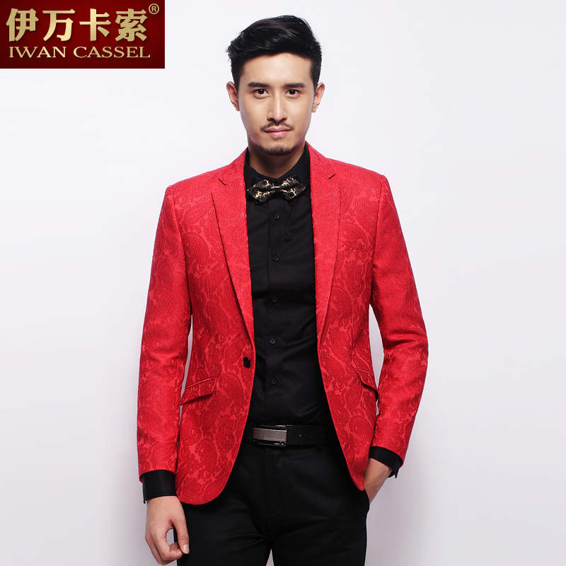 Spike ! New arrival red black spring and autumn jacquard suit mens ...