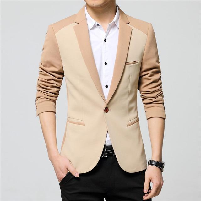 2016 New Brand-Clothing Autumn Masculine Blazer Men Fashion Jacket For Men Casual Single Button Suit Blazer Male Size M-3XL