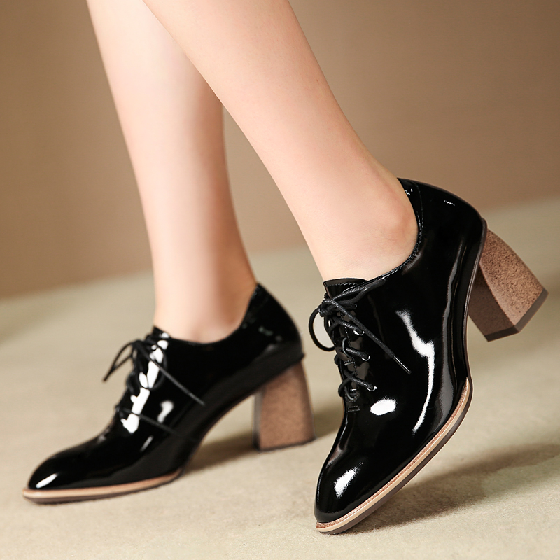Grande taille 42 femmes en cuir véritable à lacets à talons hauts oxfords rétro femme confortable robe pompes haute qualité confortable chaussure
