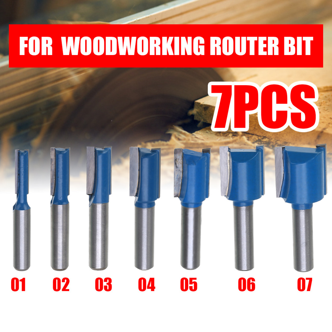1PCS 8mm Shank Straight Woodworking Router Bit Set Carpenter Milling Cutter 6/8/10/12/14/18/20mm Cutting Diameter