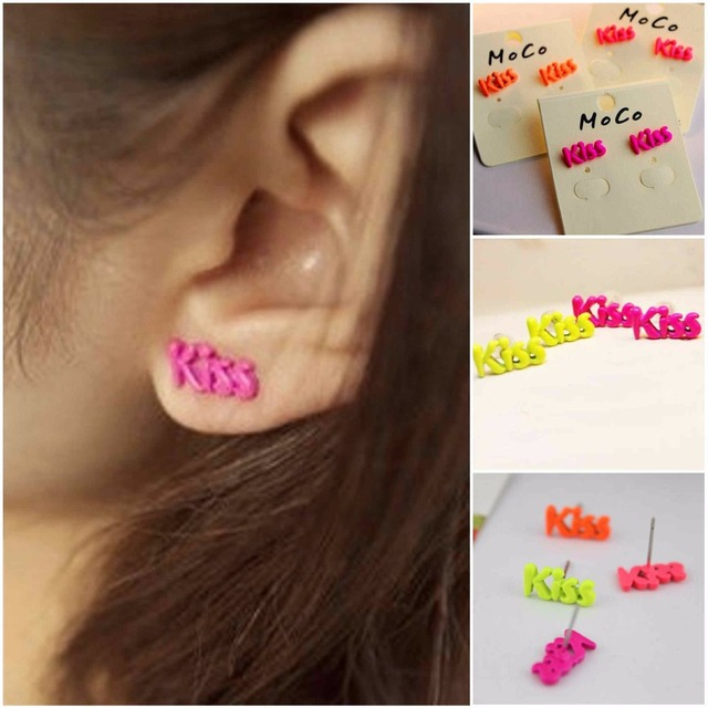 steel double item rose letter color stainless stud d gold fashion woman love earrings brand party