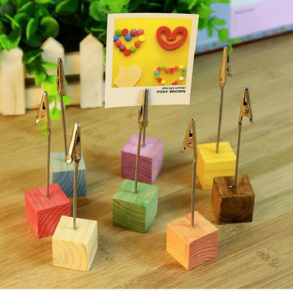 Colorful Square Wooden Card Holder , Wood Photo Holder ,  Name Card Holder As Message Card Clip For Home