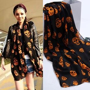 New Fashion Women Ladies Girls Cool Big Skull Head Skeleton   Scarf   Neck   Wrap   Shawl Stole Warm Winter Pashmina 150*50cm