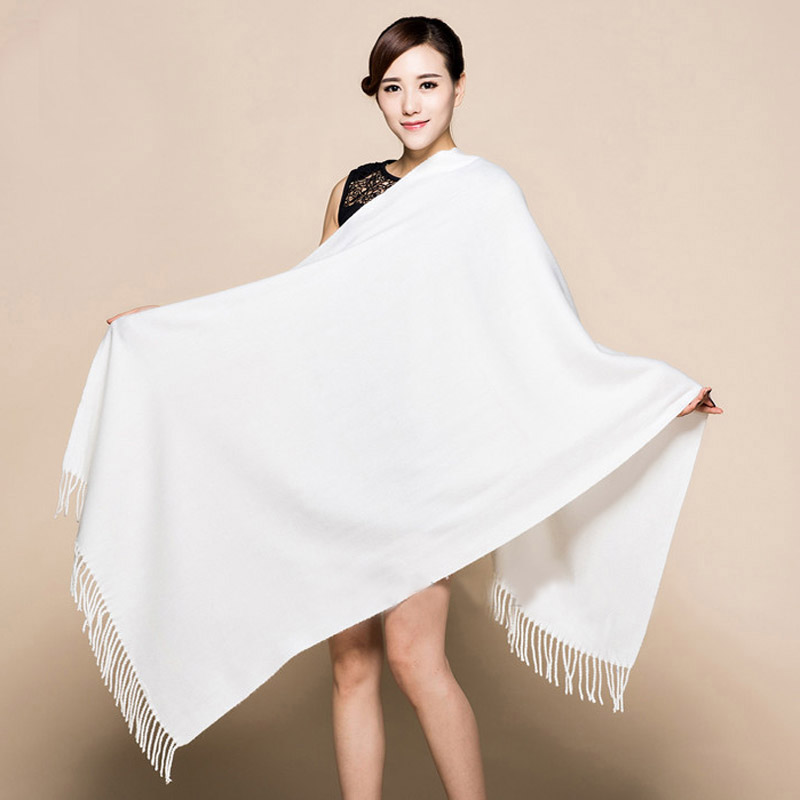 Winter New White 100% Soft Women's New Lengthen Tippet Fashion Fine Tassels Cashmere Pashima Long Shawl Scarfs Wrap Warm 120510