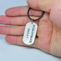 Sterling Dog Tag Necklace Personalized Men Necklace Custom Words Stamp Engraved Jewelry