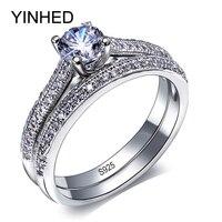מכירה גדולה YINHED מותג מוצק 925 טבעת נישואים סט תכשיטי וינטג 'כסף 1CT זירקון CZ טבעות אירוסין לנשים ZR277