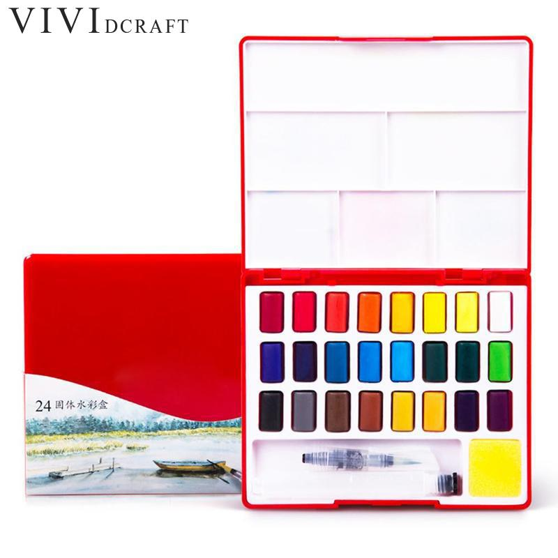 24/36/48colors Solid Watercolor Paint Professional Box With Paintbrush Portable Pigment For Painting Art Supplies Stationary free shipping holbein artists 15 color solid watercolor paint solid gold box professional level incidental paintbrush
