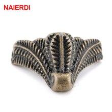 10PCS NAIERDI Antique Corner Protector Bronze Jewelry Chest Box Wooden Case Decorative Feet Leg Metal Corner Bracket Hardware