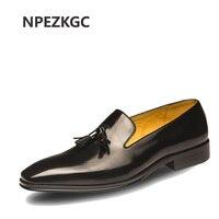 Promo Zapatos de vestir de hombre de cuero genuino estilo italiano NPEZ zapatos Oxford de cuero de negocios de moda para hombre zapatos planos de boda de calidad superior para hombre