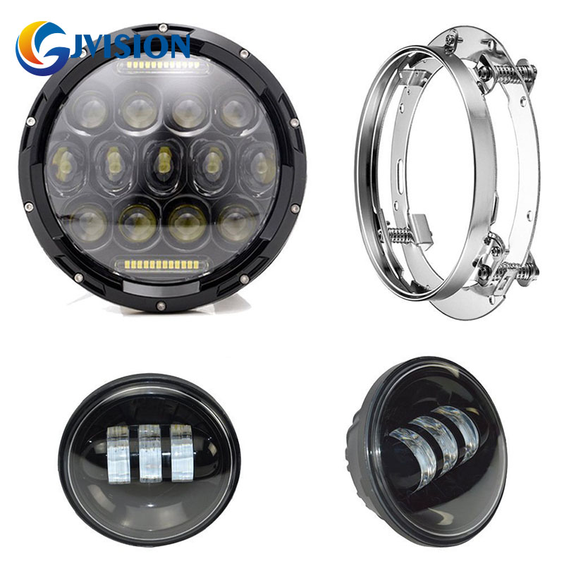 For Harley Davidson Softail models 7 inch 75W Daymaker Round led headlight and 4.5 inch Harley led fog light with mounting Ring 1x chrome 7 inch round h13 h4 40w led headlight 2x chrome 4 5 inch 30w led headlight with led angle eye for harley davidson
