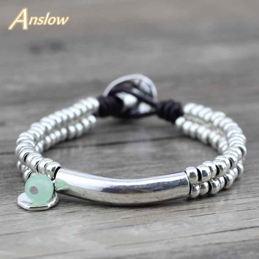 Anslow New Design Cute Romantic Women Girls Rope Handmade DIY Beads Leather Bracelets Unisex Bangles Free Shipping LOW0425LB