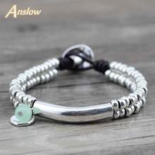 Anslow New Design Cute Romantic Women Girls Rope Handmade DIY Beads Leather Bracelets Unisex Bangles Free Shipping LOW0425LB