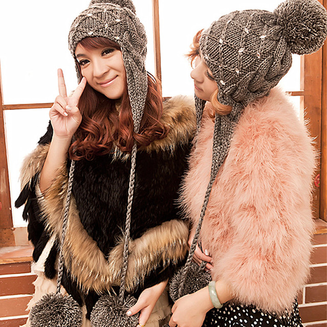 New Fashion Women's Thick Cable 100% Handmade Knit Beanie Ears Warm Hat with Balls