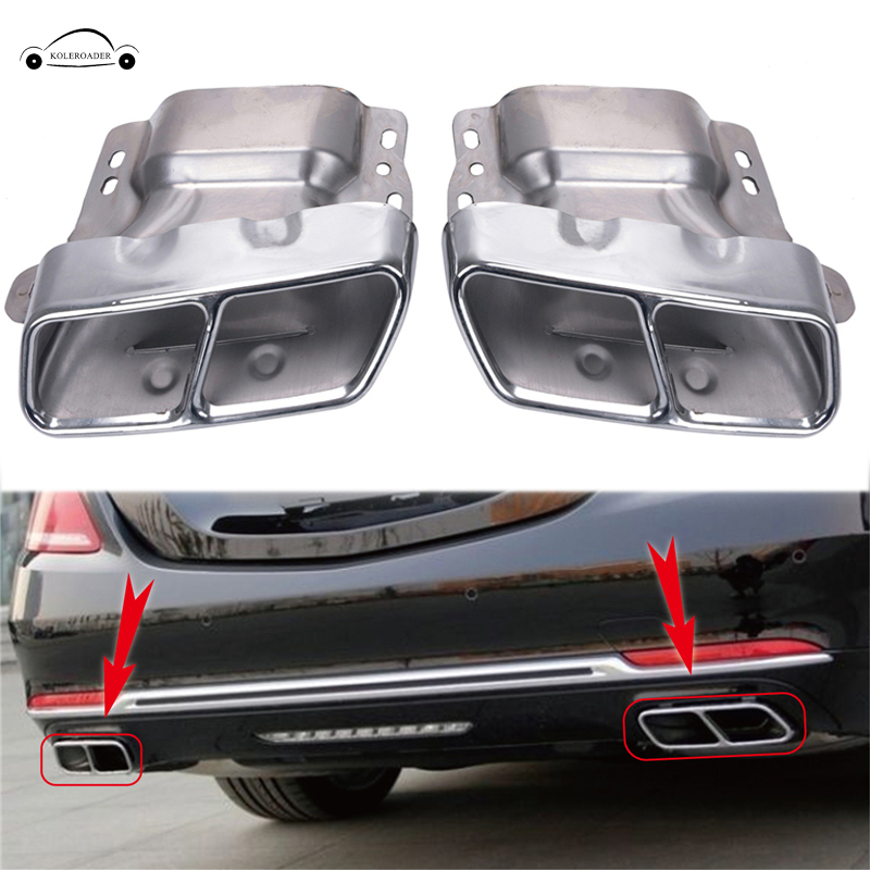 KOLEROADER Chrome Car Exhaust Pipes Tail Muffler Tips For Mercedes Benz W221 W164 AMG 2005-2012 W166 W251 W216 Car Accreeories / 2x white canbus led door courtesy footwell vanity mirror trunk lights for mercedes w204 w212 w207 w221 w216 r230 w251 w164 w463