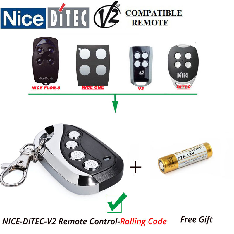NICE V2 DITEC Rolling Code Gate Door Opener Replacement Remote Controller ,Not work with Fixed Code v2 phoenix contr 47 433 92mhz rolling code remote control copy