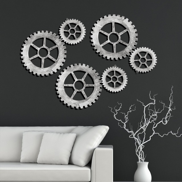 Industrial Style Wall Hanging Decorative Gear Retro Living Room Wall ...