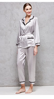 Silk pajama suit female 2 piece set 100% mulberry silk high end furniture long sleeve trousers