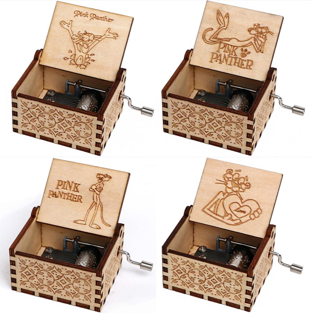 Antique Wooden Carved Music Box Pink Panther Theme Music Box Hand-cranked Caja De Musica Christmas Present Birthday Gift Boy Gi