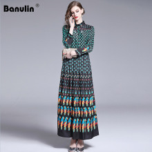 Banulin Autumn Women Designer Dresses Runway 2019 High Quality Fashion Vintage Floral Print Shirt Collar Maxi Dress Robe Femme